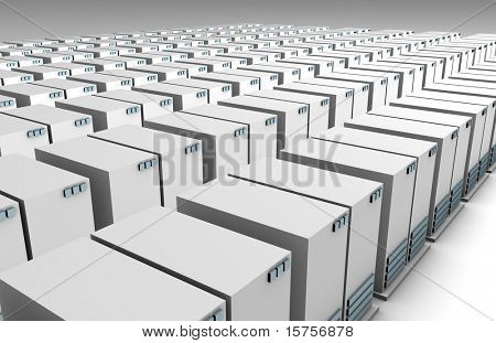 Rows of Servers at a Data Storage Center