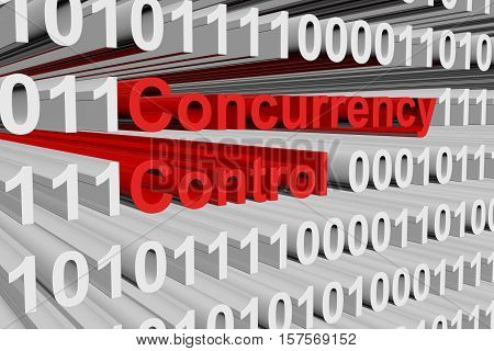Concurrency control in the form of binary code, 3D illustration