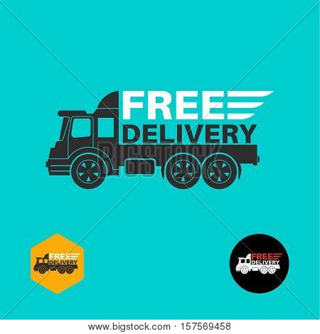 Free delivery icon. Round the clock shipment concept. Design can be used as a poster advertising singboard. Vector element of graphic design