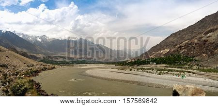 Panorama of Gilgit river Gilgit-Baltistan Province Pakistan