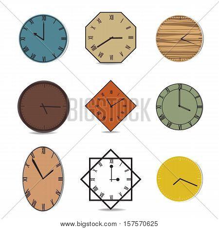 Vector vintage clock illustration color old tone