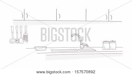 Kitchen interior drawing concept. Sketch Stylized outline minimalist vector illustration isolated on white. Shelves, cupboards, tap and kitchenware. Design for print advertising brochure, booklet.