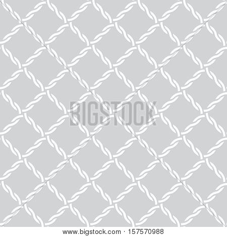 Vector seamless pattern. Simple minimal abstract geometric background. Modern stylish texture. Regularly repeating geometrical tiled grid with intersecting waved strips. Tiles with rhombuses diamonds.