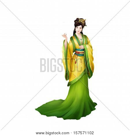 Ancient Chinese People Artwork: Beautiful Lady, Princess, Beauty. Video Game's Digital CG Artwork, Concept Illustration, Realistic Cartoon Style Background and Character Design