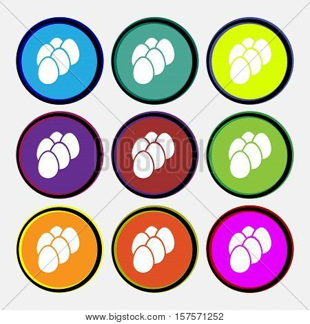 Eggs Icon Sign. Nine Multi Colored Round Buttons. Vector