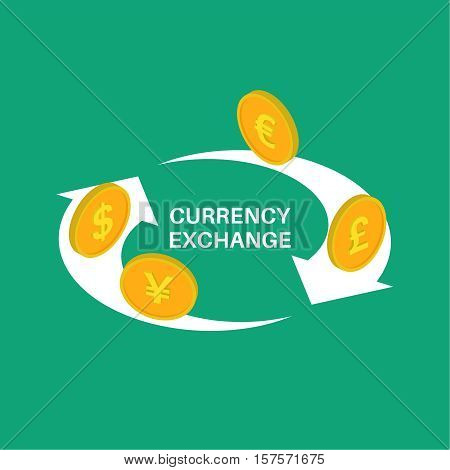 Vector illustration currency exchange. Coins dollar euro pound sterling yuan in isometric style. Shooters of exchange.