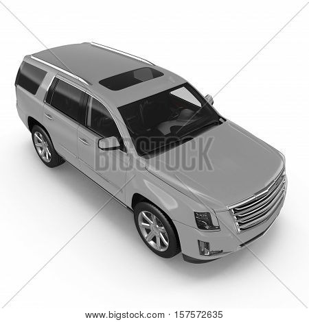 Angle from up luxury 4x4 suv car isolated on white background. 3D illustration