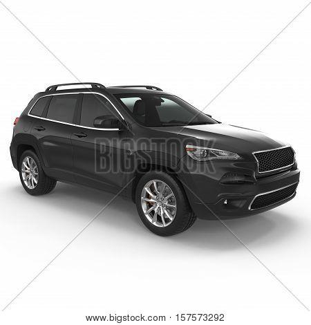 Luxury SUV isolated on white background. 3D illustration