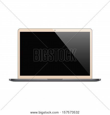 laptop gold color with blank screen isolated on white background. stock vector illustration eps10
