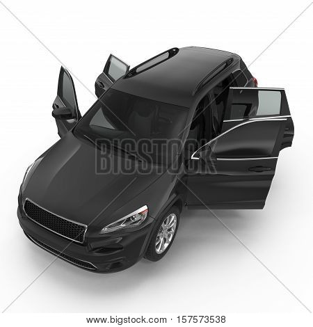 Black Sports Utility Vehicle Isolated on White background. Opened doors. 3D illustration