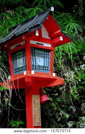 Red Light Poles Continued Staircase Entrance To Kibune-jinja Shrine.