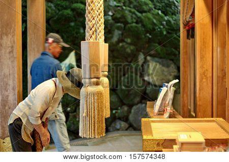 Lady Respect Belief By Beautiful Mind At  Kibune-jinja Shrine, Japan.