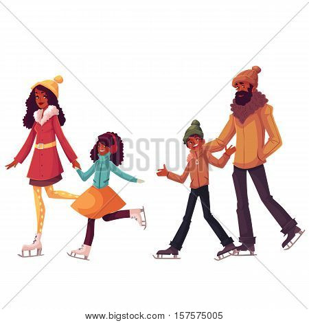 Happy black father, mother, sister and son ice skating together, cartoon vector illustrations isolated on white background. African American cheerful cartoon style family skating, winter activity