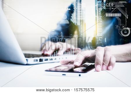 Double Exposure Of Businesswomen Using Smart Phone With Blur City Day And Night And Connection Netwo