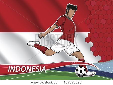 Vector illustration of football player shooting on goal. Soccer team player in uniform with state national flag of indonesia.