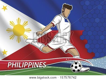 Vector illustration of football player shooting on goal. Soccer team player in uniform with state national flag of philippines.