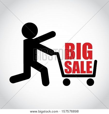 Stick figure man pushing shopping cart with big sale. Symbol or icon of shopper. Vector shopping pictogram.