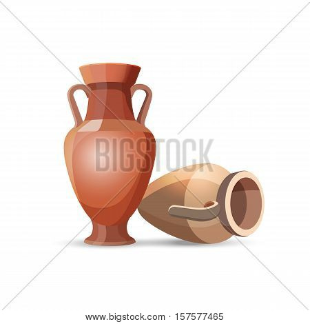 Amphora vase set isolated on white. Dark clay vases, one lies the floor. Two clay jars Egyptian style. Old traditional vintage pot. Ancient decorative element. Ceramics accessory. Greek style. Vector