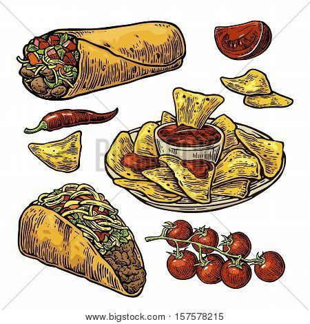 Mexican traditional food set with text message burrito tacos chili tomato nachos. Vector vintage engraved illustration for menu poster web. Isolated on white background.