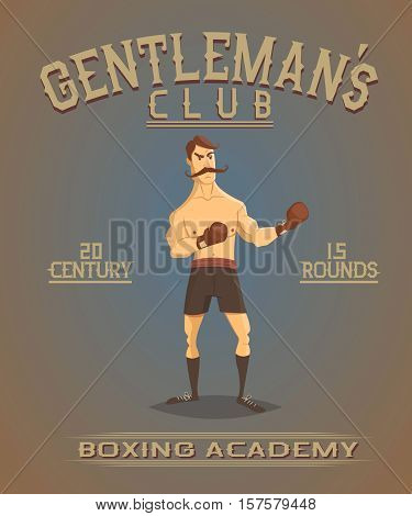 Vintage old poster with boxer.Boxing academy.Cartoon vector illustration