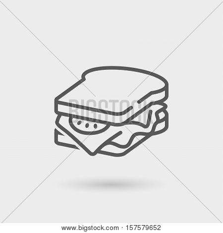 sandwich thin line icon black color isolated