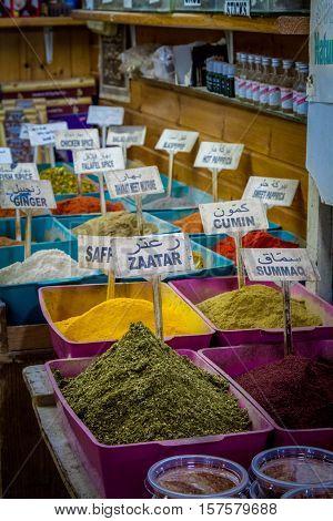 Spice shop on Arab market in Old City of Jerusalem, Israel