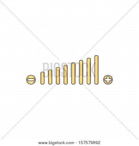 Volume adjustment Gold vector icon with black contour line. Flat computer symbol