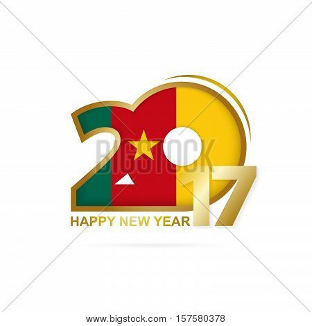 Year 2017 With Cameroon Flag Pattern. Happy New Year Design On White Background.