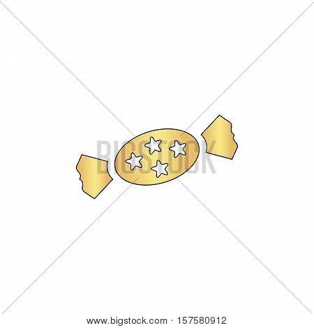 bonbon Gold vector icon with black contour line. Flat computer symbol
