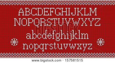 Christmas font. Knitted latin alphabet on seamless knitted pattern with snowflakes and fir. Nordic fair isle knitting, winter holiday sweater design. Vector Illustration