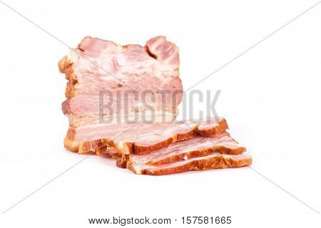 Smoked brisket isolated on white background. Meat products
