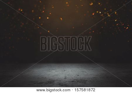 Empty Concrete Floor with Gold Particles on Dark Background