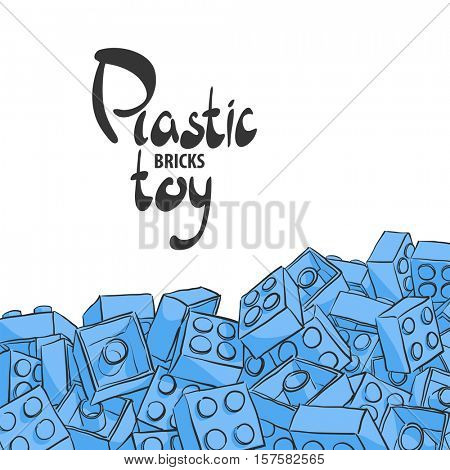 Elements of plastic constructor on white background for children