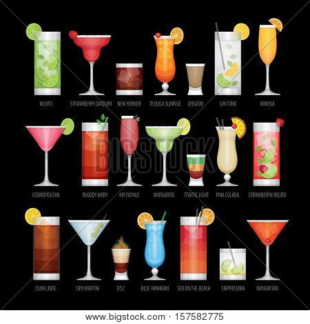 Flat Icons Set Of Popular Alcohol Cocktail On Black Background. Flat Design Style, Vector Illustrati