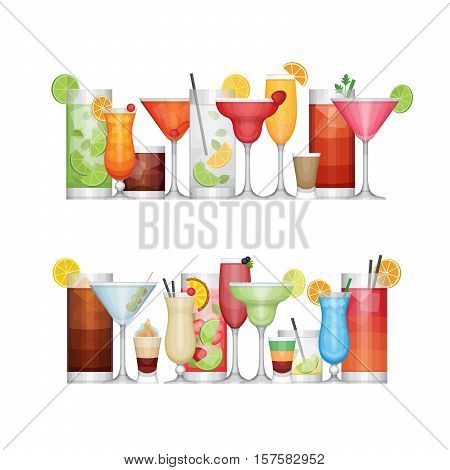 Different Alcohol Cocktail. Drinks And Beverages. Flat Design Style, Vector Illustration.
