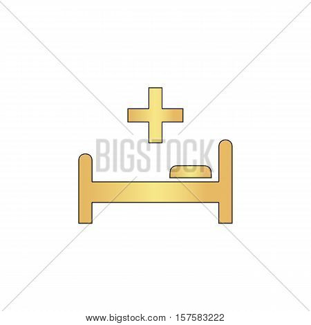 Hospital bed Gold vector icon with black contour line. Flat computer symbol