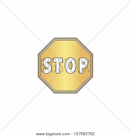 outline vector Stop Sign Icon Gold vector icon with black contour line. Flat computer symbol