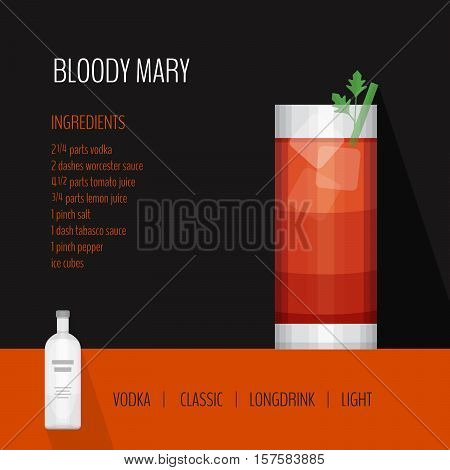 Glass Of Cocktail Bloody Mary On Black Background. Cocktail Menu Card, Recipe. Flat Design Style, Ve