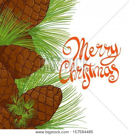 Tree pine cones and needles with the words Merry Christmas