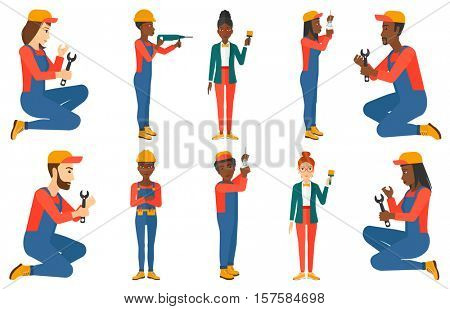 Worker drilling a hole with hammer drill. Worker in overalls and hard hat working with hammer drill. Plumber working with wrench. Set of vector flat design illustrations isolated on white background.
