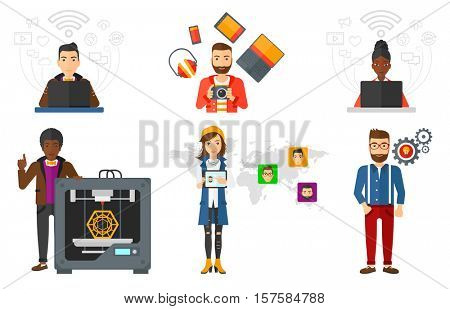 Man sharing media files in social media resources using his laptop. Man using laptop with social media icons. Social media concept. Set of vector flat design illustrations isolated on white background
