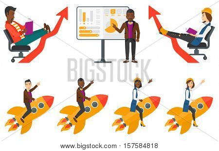 Businessman reading a book. Concentrated business woman studying. Business woman relaxing with a book. Business study concept. Set of vector flat design illustrations isolated on white background.