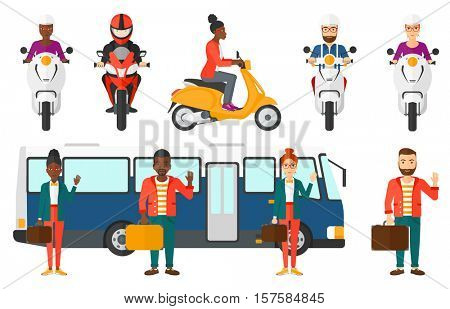 Young smiling woman standing at the entrance door of a bus. Happy young man waving in front of a bus. Man traveling by bus. Set of vector flat design illustrations isolated on white background.
