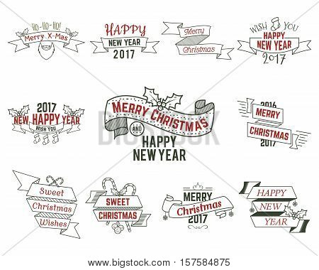 Christmas typography collection. Set of christmas typography badges for web, inspiration, overlays. Vector christmas typography illustration. Christmas typography isolated.