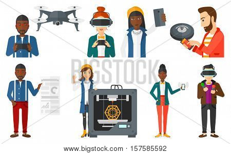 Man flying drone with remote control. Man operating drone with remote control. Man controlling robot vacuum cleaner with smartphone.Set of vector flat design illustrations isolated on white background