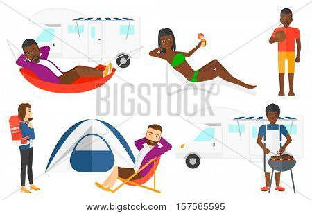 Happy tourist sitting in a folding chair. Young joyful tourist relaxing in a folding chair. Smiling tourist enjoying his holiday. Set of vector flat design illustrations isolated on white background.