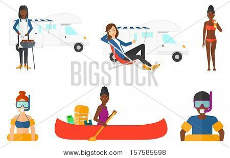 Man in going to swim with equipment for snorkeling. Man wearing snorkeling equipment. Woman drinking cocktail at beach resort. Set of vector flat design illustrations isolated on white background.
