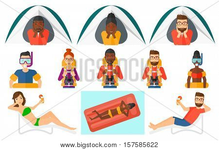 Man crawling out from a camping tent. Man with his hands on cheek lying in camping tent and relaxing. Man sitting on beach chair. Set of vector flat design illustrations isolated on white background.