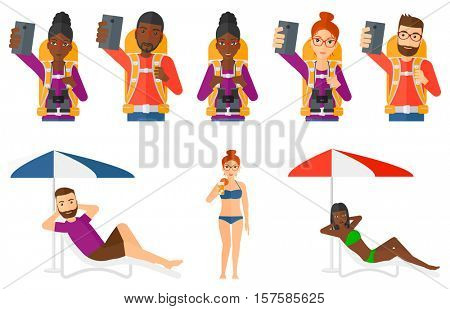 Tourist with backpack taking selfie with cellphone. Happy tourist taking selfie. Traveling man using smartphone to make a selfie. Set of vector flat design illustrations isolated on white background.