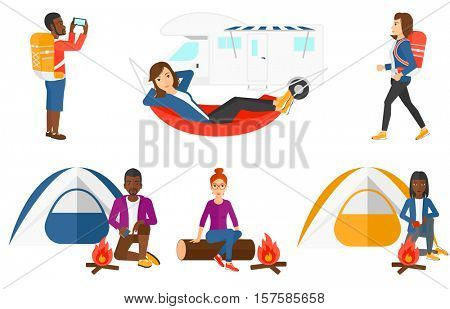 Man kindling a campfire on the background of camping tent. Tourist relaxing near campfire. Man with matches sitting near campfire. Set of vector flat design illustrations isolated on white background.